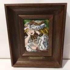 Varios objetos de Arte: CUADRO CON ESMALTE REPLICA A. RENOIR. MARCO DE MADERA. Lote 206152612