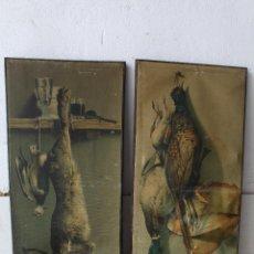 Varios objetos de Arte: 2 CUADROS CAZA CONEJO Y PERDIZ LITOGRAFIA ANTIGUA. Lote 206955612