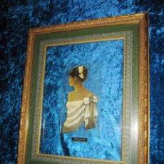 Varios objetos de Arte: CUADRO MUJER DAMA MARGARITA ESMALTE EN RELIEVE DOBLE CRISTAL. Lote 207848471