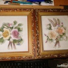 Varios objetos de Arte: DIS CUADROS EN RELIEVE DE FLORES MEDIDAS 23X27. Lote 208057401