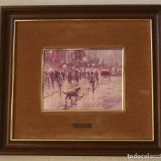 Varios objetos de Arte: CUADRO REPRODUCCION ANTIGUO OLEO PINTURA ARTISTA PINTOR FIRMADO J. SENABRE – BOBLE MARCO Y PASPARTU. Lote 208871258