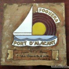 Varios objetos de Arte: PLACA CERAMICA CON ESMALTE FOGUERA PORT D'ALACANT. Lote 209016236