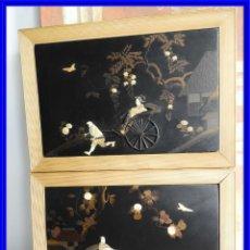 Varios objetos de Arte: PAREJA DE CUADROS DE LACA CHINA CON ADORNOS DE DIFERENTES PIEDRAS. Lote 210355358
