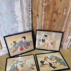 Varios objetos de Arte: 4 ESTAMPAS JAPONESAS DE ESCENAS ERÓTICAS. Lote 211515509