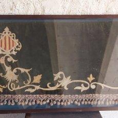 Varios objetos de Arte: ANTIGUO PENDÓN BORDADO CON EL ESCUDO DE CATALUÑA. Lote 212106240