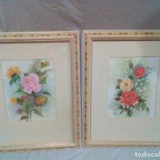 Varios objetos de Arte: DOS PRECIOSOS CUADROS DE FLORES 55 X 45 CM. Lote 212700913