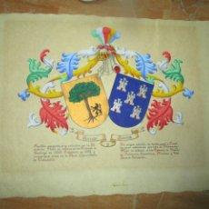 Varios objetos de Arte: PINTURA ANTIGUA PERGAMINO HERALDICO DEL PINTOR ALICANTE FRANCISCO AZNAR HERNANDEZ DISC, DE CASANOVA. Lote 213830266