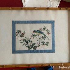 Varios objetos de Arte: PAREJA DE CUADROS ORIENTALES DE SEDA CON MOTIVOS DE PAJAROS. Lote 214216288