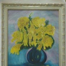 Varios objetos de Arte: CUADRO JARRÓN CON MIMOSA PINTADO A MANO. Lote 214257661