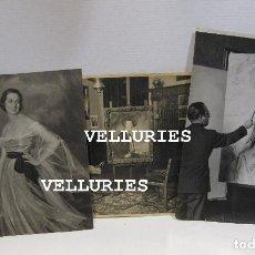 Varios objetos de Arte: TRES FOTOGRAFIAS DEL PINTOR ISMAEL BLAT. RETRATO DEL ARTISTA, INTERIOR ESTUDIO Y UNA PINTURA. Lote 215134730