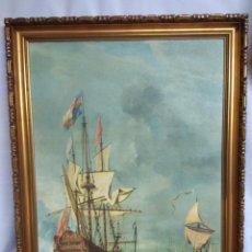 Varios objetos de Arte: CUADRO BATALLA NAVAL.. Lote 215338320