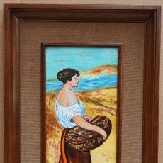 Varios objetos de Arte: ESMALTE SOBRE PORCELANA - PESCADERA - DECORARTIS - 69,5 X 41,3 CM.. Lote 215518145