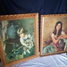 Varios objetos de Arte: IMPRESIONANTE LOTE 2 LITOGRAFÍAS EN TELA ENMARCADA FRANCISCO RIBERA RIVERA PRECIOSOS MARCOS... Lote 216418950