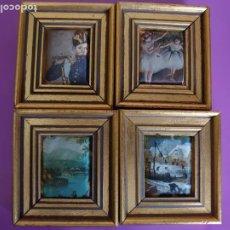 Varios objetos de Arte: LOTE 4 PEQUEÑOS CUADROS ESTAMPADOS EN SEDA. Lote 216961163