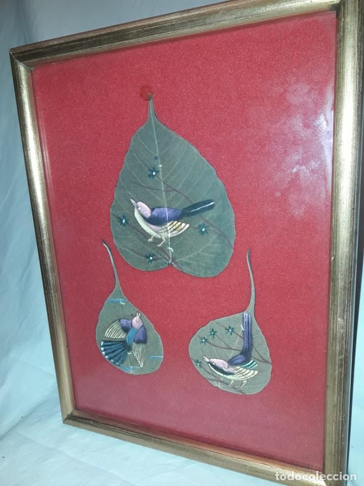 Varios objetos de Arte: Bello cuadro pintura sobre 3 hojas naturales India pájaros - Foto 2 - 217047410