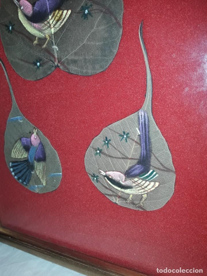 Varios objetos de Arte: Bello cuadro pintura sobre 3 hojas naturales India pájaros - Foto 4 - 217047410