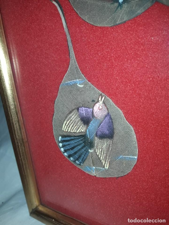 Varios objetos de Arte: Bello cuadro pintura sobre 3 hojas naturales India pájaros - Foto 5 - 217047410