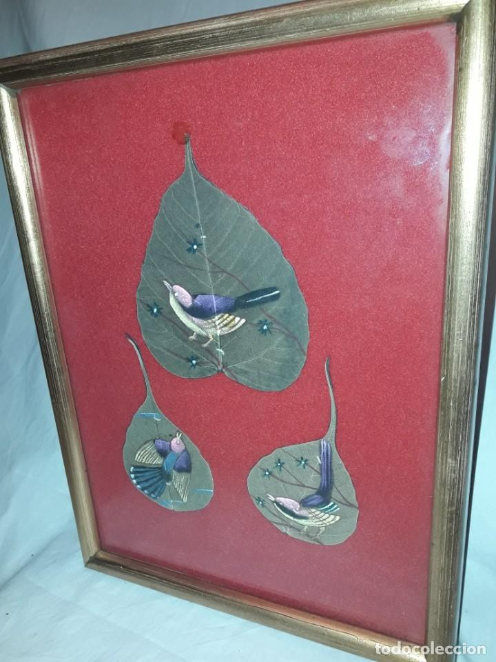 Varios objetos de Arte: Bello cuadro pintura sobre 3 hojas naturales India pájaros - Foto 6 - 217047410