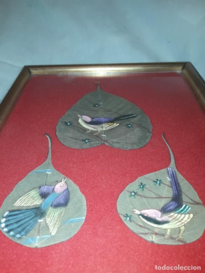 Varios objetos de Arte: Bello cuadro pintura sobre 3 hojas naturales India pájaros - Foto 8 - 217047410