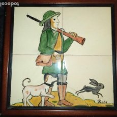 Varios objetos de Arte: CUADRO ESCENA CAZA PINTADO COMPOSICIÓN AZULEJO FIRMADO ROSA RESTAURAR? PERRO CONEJO CAZADOR. Lote 217055457