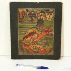 Varios objetos de Arte: CUADRO ARTESANO REALIZADO CON PAJAS DE COLORES PEGADAS SOBRE CARTÓN. Lote 217273470