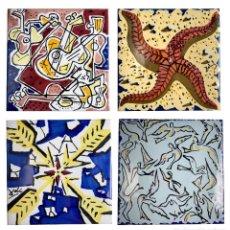 Varios objetos de Arte: SALVADOR DALÍ - LOTE DE 4 AZULEJOS ORIGINALES DE CERÁMICA ESMALTADA POLICROMADA - AÑOS 50. Lote 217969036