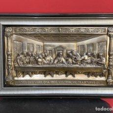 Varios objetos de Arte: ANTIGUO CUADRO ÚLTIMA CENA DE CHAPA BAÑO DE PLATA PRECIOSO TRABAJO.REGISTRADO. Lote 218928447