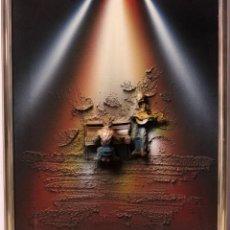 Varios objetos de Arte: TECNICA MIXTA SOBRE LIENZO, FIGURAS EN RELIEVE. LOS MÚSICOS. FIRMADO. ENMARCADO 49X58CM. Lote 218968907