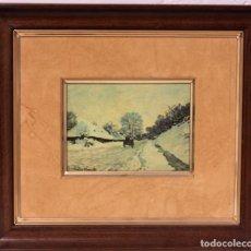 Varios objetos de Arte: ANTIGUA OBRA DE CLAUDE MONET ESMALTADA. CON MARCO 29X25CM. Lote 218996971