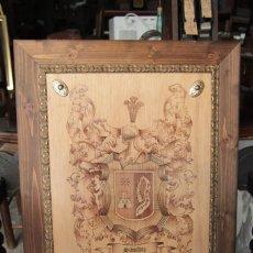 Varios objetos de Arte: PIROGRABADO HERALDICA APELLIDO SANCHEZ, ENMARCADO. 42X52CM. Lote 220755595