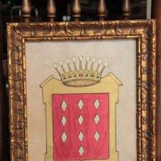 Varios objetos de Arte: ESCUDO HERÁLDICO. PINTADO A MANO Y ENMARCADO. 39X30CM CONDE DE LALAING (GRANDE DE ESPAÑA). Lote 220756060