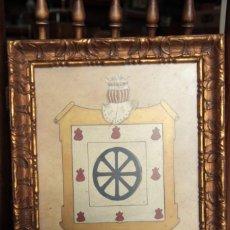 Varios objetos de Arte: ESCUDO HERÁLDICO. PINTADO A MANO Y ENMARCADO. 39X30CM. DESCONOZCO APELLIDO. RUEDA?. Lote 220756193
