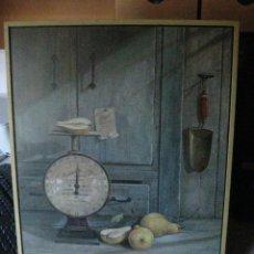 Varios objetos de Arte: PRECIOSO BODEGON -LITOGRAFIA SOBRE MADERA 52 X 42 CM-. Lote 222410903