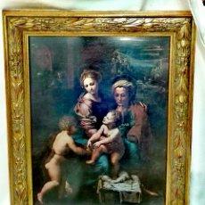 Varios objetos de Arte: CUADRO FAMILIA CON HIJOS, TIENE EL MARCO DE MADERA MACIZA,. Lote 222512531