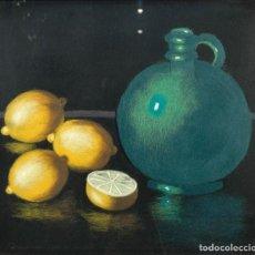 Varios objetos de Arte: CUADRO HECHO CON LANA BODEGÓN LIMONES Y JARRA. Lote 222599998
