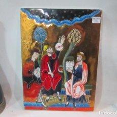 Varios objetos de Arte: CUADRO SOBRE AZULEJO DIBUJO ESMALTE RELIEVE FONDO COLOR ORO 30X22 CM. PEQUEÑA RAJA TRASERA. Lote 222828738