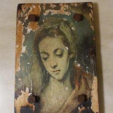 Varios objetos de Arte: CUADRO DE MADERA CON IMAGEN DE MUJER MELANCOLICA. Lote 224043071