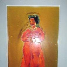 Varios objetos de Arte: ESMALTADO MUJER MORENA DESCALZA VESTIDO ROJO COLLAR PENDIENTES FIRMADO MTECHU? SE AGRADECE INFORMACI. Lote 225656317