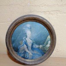 Varios objetos de Arte: DECORATIVO CUADRO DE CEDA PINTADA CON MARCO DORADO. Lote 227640895