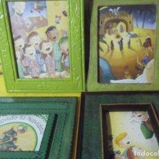 Varios objetos de Arte: LOTE 4 MARCOS CON MOTIVOS NAVIDEÑOS , FALTA CRISTAL AL DE ABAJO DERECHA .. Lote 229653760