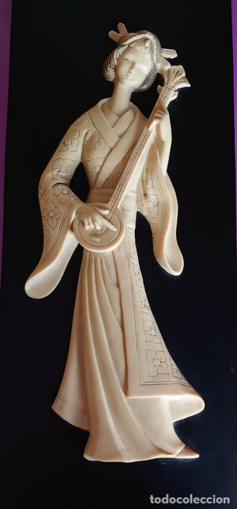 CUADRO GEISHA MARFIL TALLADO (Arte - Varios Objetos de Arte)