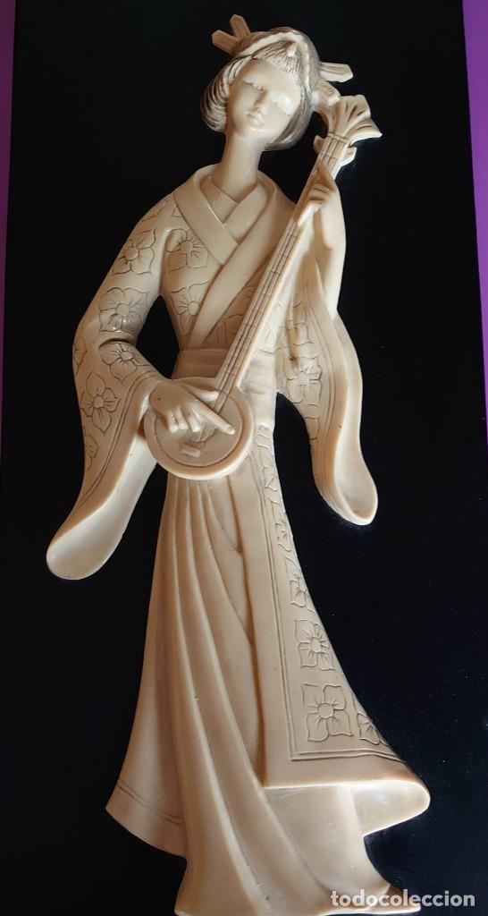 Varios objetos de Arte: CUADRO GEISHA MARFIL TALLADO - Foto 2 - 253064665