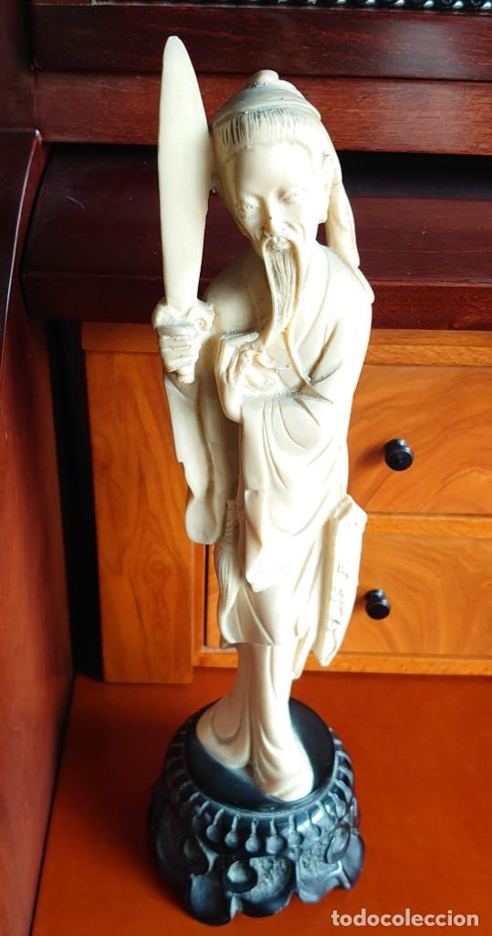 Varios objetos de Arte: TALLA SIMIL MARFIL Y EBANO VIEJO CHINO - Foto 2 - 230000965