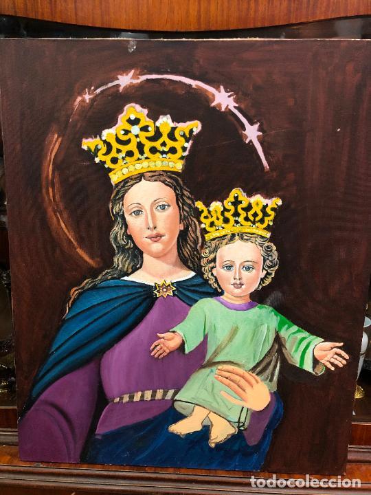 PINTURA SOBRE LIENZO VIRGEN MARIA AUXILIADORA - MEDIDA 74X60 CM - RELIGIOSO (Arte - Varios Objetos de Arte)