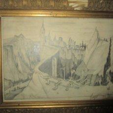Varios objetos de Arte: ANTIGUO DIBUJO FIRMADO JOAQUIN SURREALISMO ADQUIRIDO EN VALENCIA. Lote 230486670