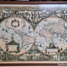 Varios objetos de Arte: MAPA MUNDI BARROCO LAMINA CON CRISTAL ENMARCADO 83 X 63. Lote 230813060