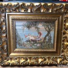 Varios objetos de Arte: CUADRO CON PAISAJE DE LAGO EN TELA DE LINO,PUNTO DE CRUZ 47,5X46CM DE MARCO 30X21,5CM IMAGEN. Lote 231156950