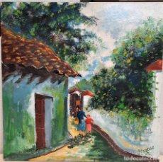 Varios objetos de Arte: CUADRO OLEO CERAMICA MUJER CON NIÑA PUEBLO 32 X 32 FIRMADO F. COELLO. Lote 231161320