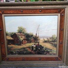 Varios objetos de Arte: PRECIOSA CUADRO CON ENMARCACIÓN DE LUJO. BARNIZ EFECTO PINTURA. 81X70CM. ESCENA RURAL. Lote 231163960