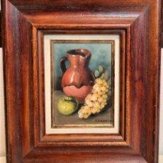 Varios objetos de Arte: OLEO SOBRE TABLA BODEGON ENMARCADO 31 X 36 FIRMADO. Lote 231300430